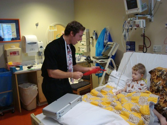 Enjoying magic and laughs with children at Sacred Heart Children's Hospital