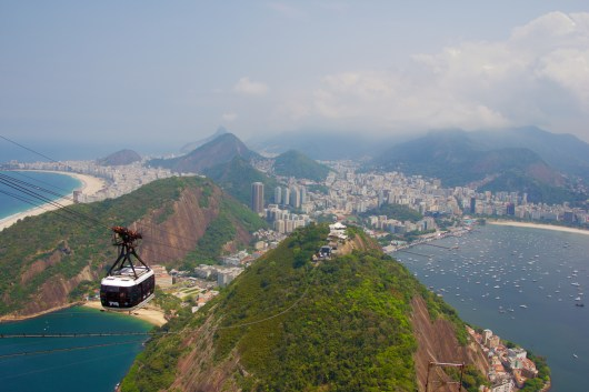 Overlooking Rio from Sugar Loaf Mountain.