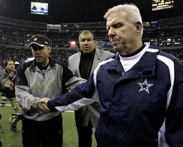 Bill Parcells and Sean Payton shake hands after the Saints beat the Cowboys 42-17 in December of 2006.