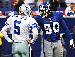 Backed by a strong defensive effort, Clint Stoerner's solid first-half showing staked the Cowboys to a 24-7 halftime lead against the defending NFC champion Giants. But four interceptions after the intermission made a way for an improbable New York comeback, and ultimately to Stoerner's benching. In relief, Ryan Leaf completed four-of-eight passes for 85 yards, but it wasn't enough, as the Giants took the game in overtime 27-24.