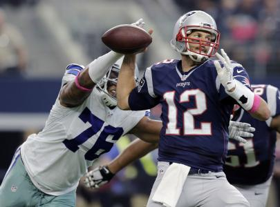 Greg Hardys consistent pressure of New England QB Tom Brady helped limit the Patriots to a season-low 13 first-half points.