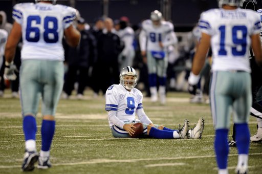 What at the time was a career-high 392 passing yards came to nought for Tony Romo and the Cowboys on this early December evening at the Meadowlands, as mistakes and an ill-timed fumble from tailback Marion Barber helped the Giants escape with a 31-24 victory. Romo's two touchdown passes to Roy Williams kept the Cowboys close through three quarters, but it wasn't enough, as the Giants pulled away late. Jason Witten led all Cowboy receivers with 14 receptions for 156 yards.