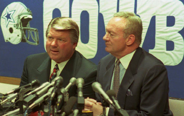 The high-profile divorce between Jerry Jones Jimmy Johnson in March of 1994 led to a highly anticipated matchup between Jones Cowboys Johnsons Dolphins 30 months later.