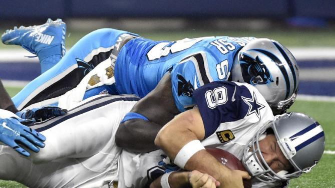 Tony Romo is sacked by Carolina linebacker Thomas Davis on the final play of the third quarter.  Romo suffered a left collarbone injury, the same one that forced him to miss seven games earlier this season.