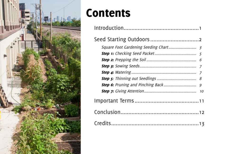 Grow Seed Starting Outdoors multimedia book contents