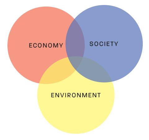 economy, environment, and society as a Venn diagram