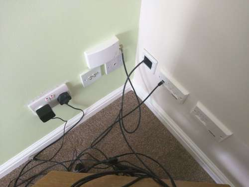 small resolution of the virgin media outlet connects to a satellite cable which goes into the understairs cupboard