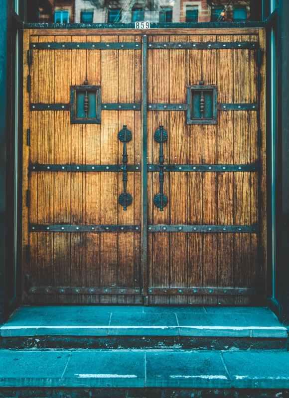 brown wooden side by side door
