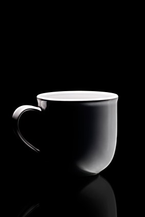 White Coffee Cup on Black