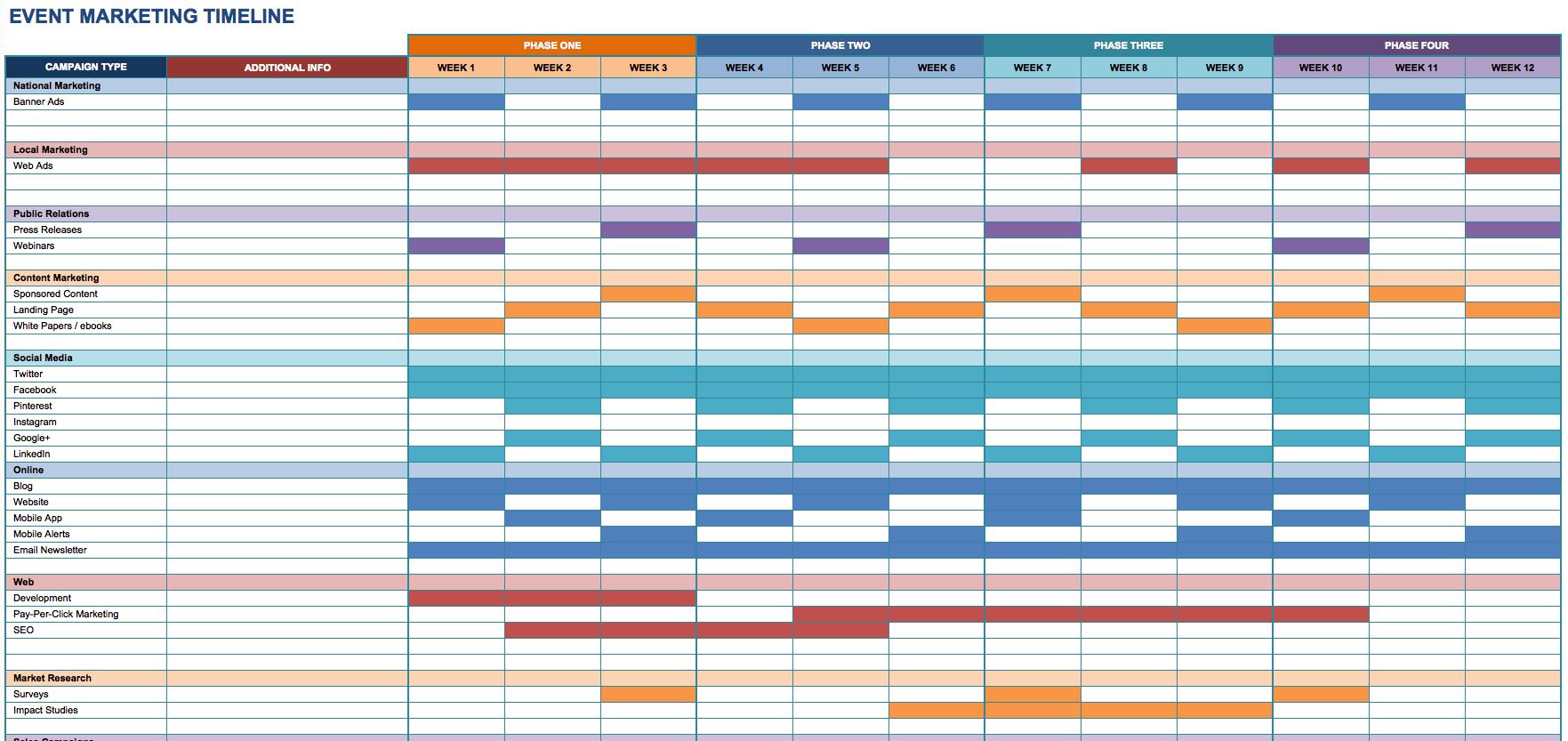 Image Excel Marketing Marketing Plan Temlate Timeline