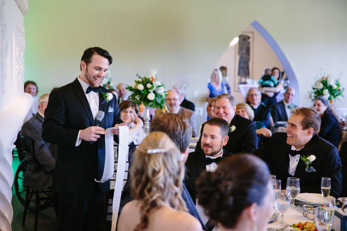 Best Man Speech at reception at the castle in rockwalll
