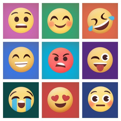 Stylized versions of various emoji faces arranged in a bright rainbow-colored grid