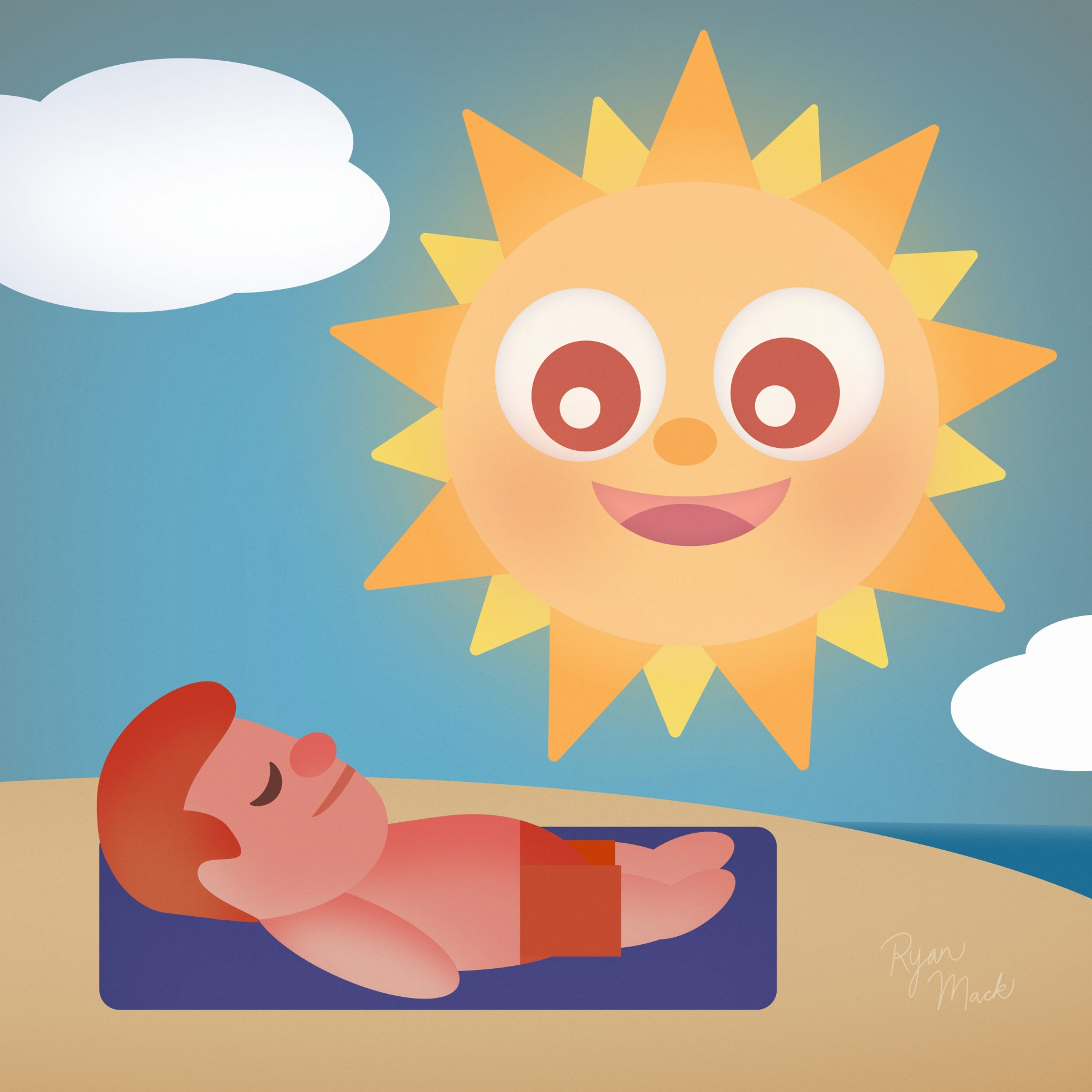 Cute cartoon sun smiling down on a man sunbathing on a towel with burnt red skin, red hair and red swimsuit