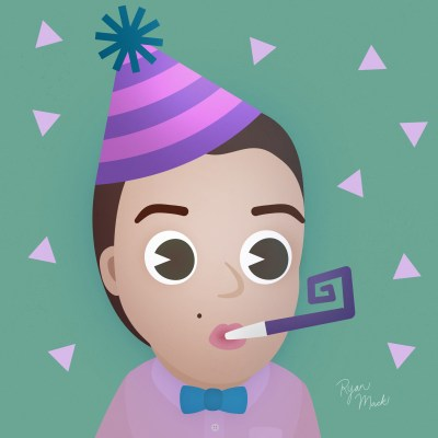 Illustrated character wearing bowtie in stylized birthday hat with confetti and party favors