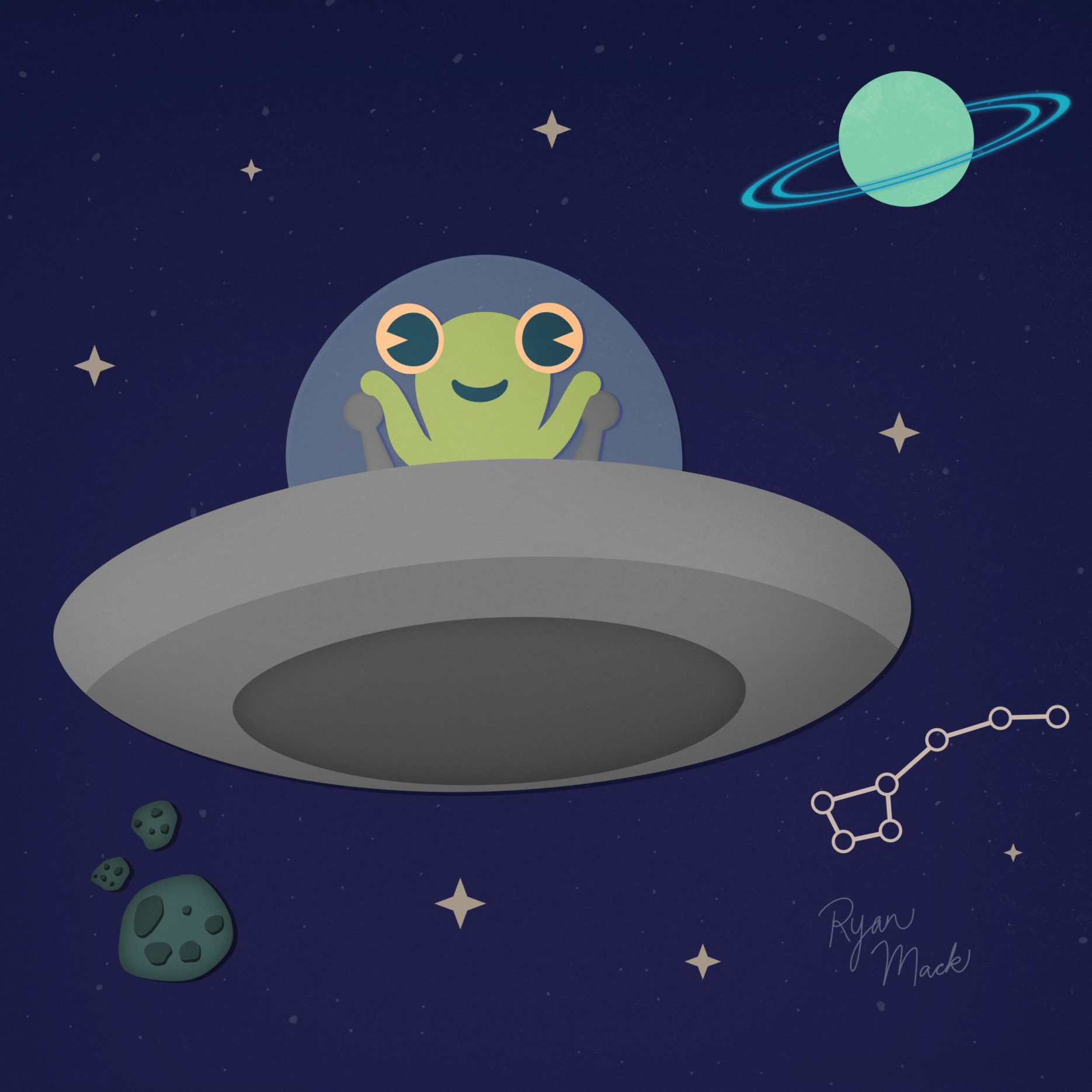 Cute little alien creature with big eyes in a flying saucer