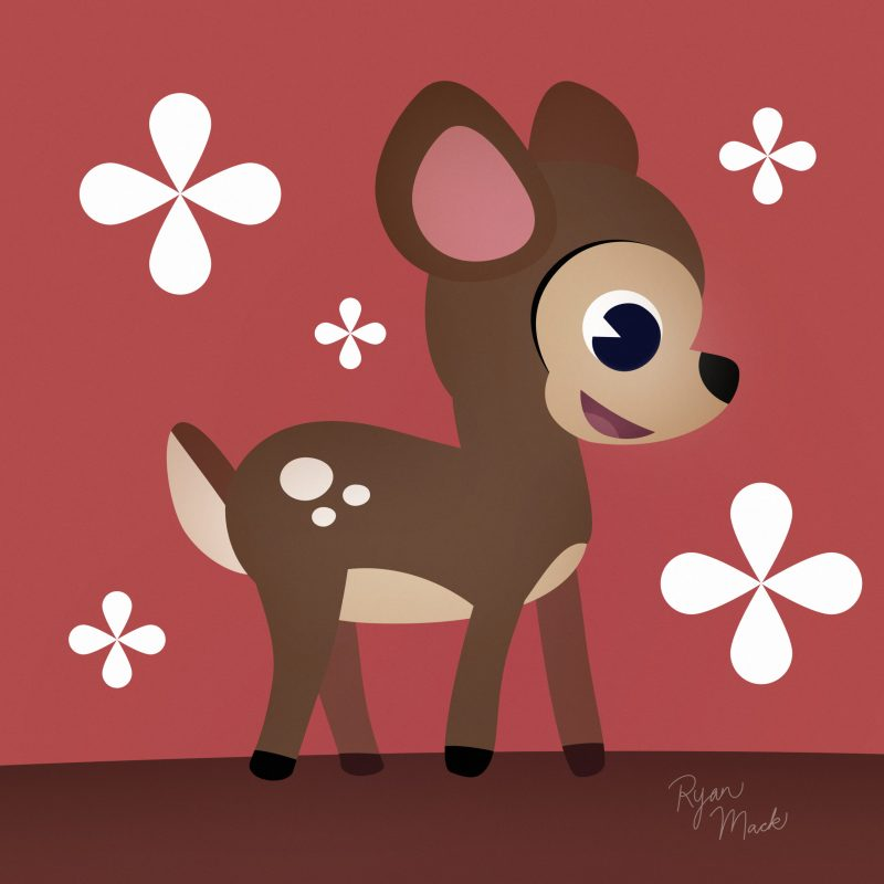 Stylized Adorable Baby Deer with Floral Motif