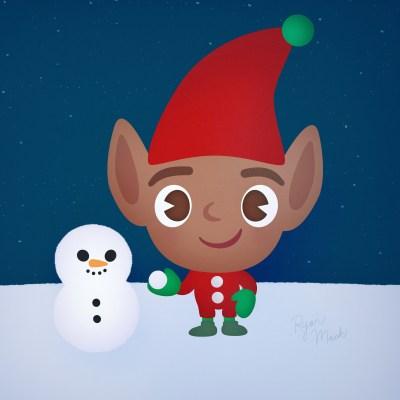 Adorable Elf Building a Snowman