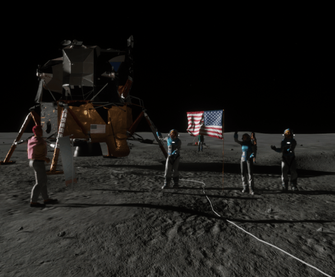 Apollo Moon Landing Astronauts Waving 2 Sansar 1 August 2017