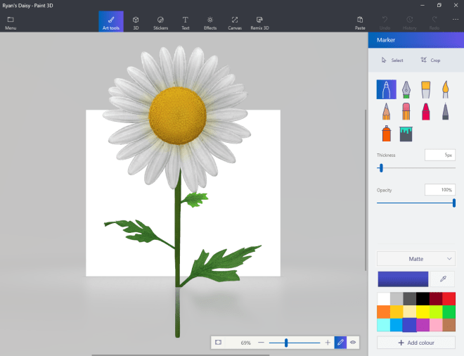 Daisy from Paint 3D 12 August 2017