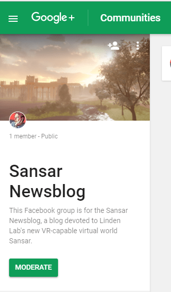 Sansar Newsblog Google Community 14 August 2017