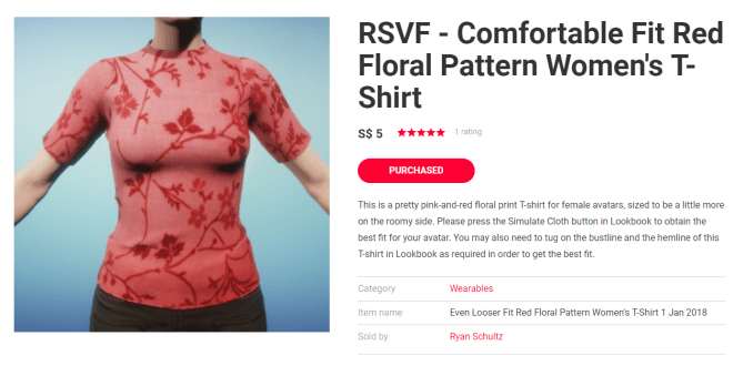 Listing Red Floral Pattern T-Shirt 1 Jan 2018