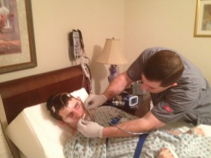 Ryan get the EEG leads hook-up for the sleep study.
