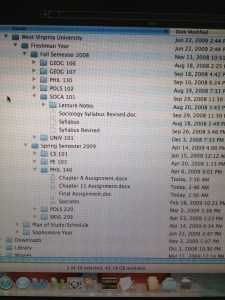 Ryan's file structure on his laptop.