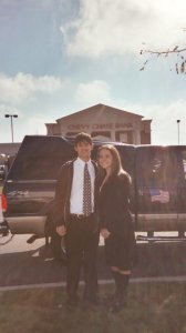 Ryan and Natalie (the author's daughter) before riding as the class selection in the Homecoming parade.