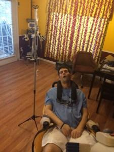 Ryan gets his IV antibiotic this morning.