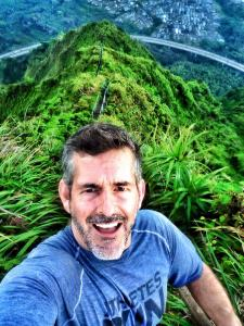 Frank Fumich trains while on family vacation in Hawaii by running up these cliff stairs.