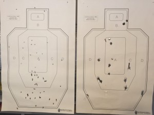 Left: 9mm at 50 feet. Right: 12 Gauge smooth bore Shotgun at 75 feet.