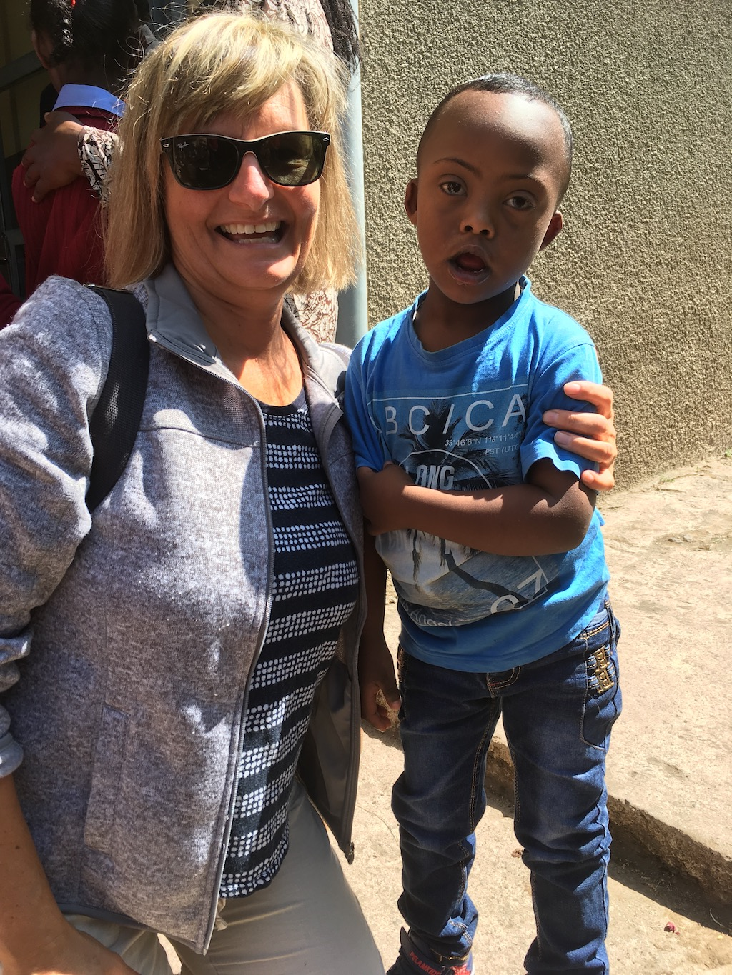 Kathy with new Sponsored Child Dagin