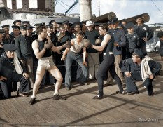 July 3, 1899. Boxing match aboard the U.S.S. New York
