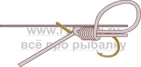 釣りノード - フックスライディングスヌード写真3を綴じる方法3