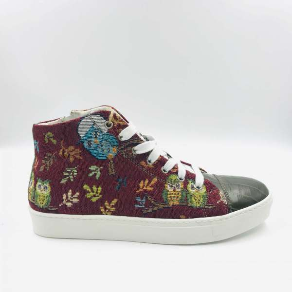 Leaves and Birds Gobelin with Juniper green coco leather RYC & RICH-YCLED Handmade Shoes From Italy