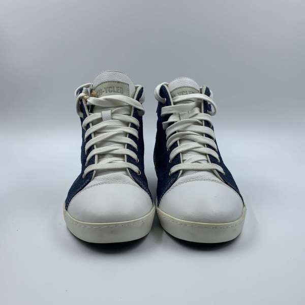 Denim blue Jeans with Daisy white leather RYC & RICH-YCLED Handmade Shoes From Italy