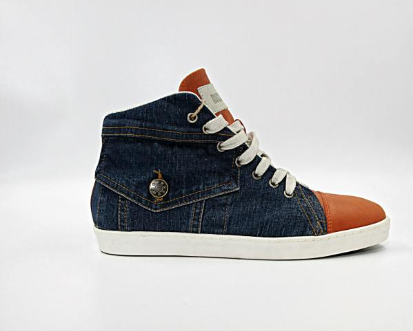 blue denim With carrot orange leather RYC & RICH-YCLED Handmade Shoes From Italy €175