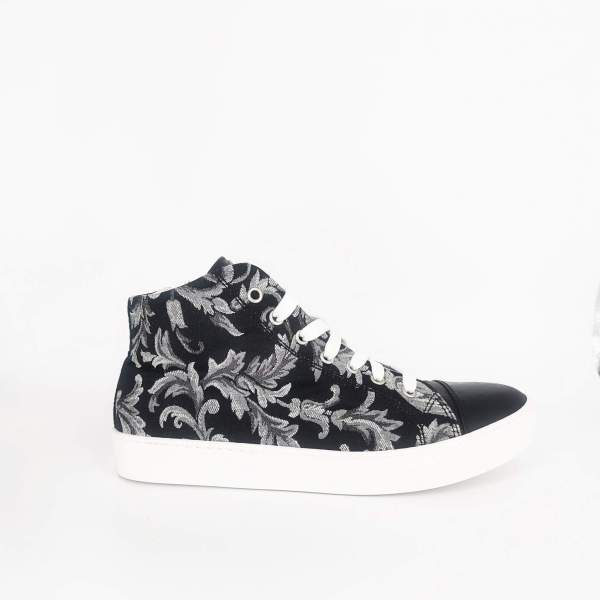 black & white damask fabric with Black ostrich leather RYC & RICH-YCLED Handmade Shoes From Italy