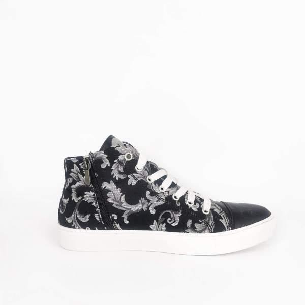 black & white damask fabric with Black ostrich leather RYC & RICH-YCLED Handmade Shoes From Italy €280