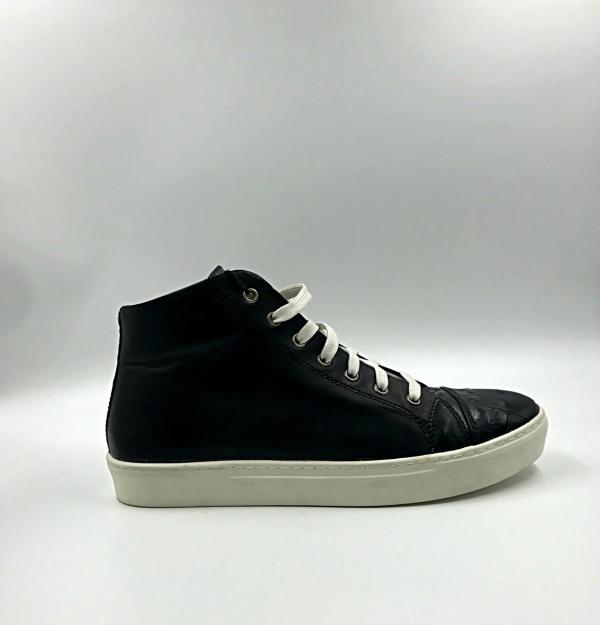ink black leather with black crocodile leather RYC & RICH-YCLED Handmade Shoes From Italy