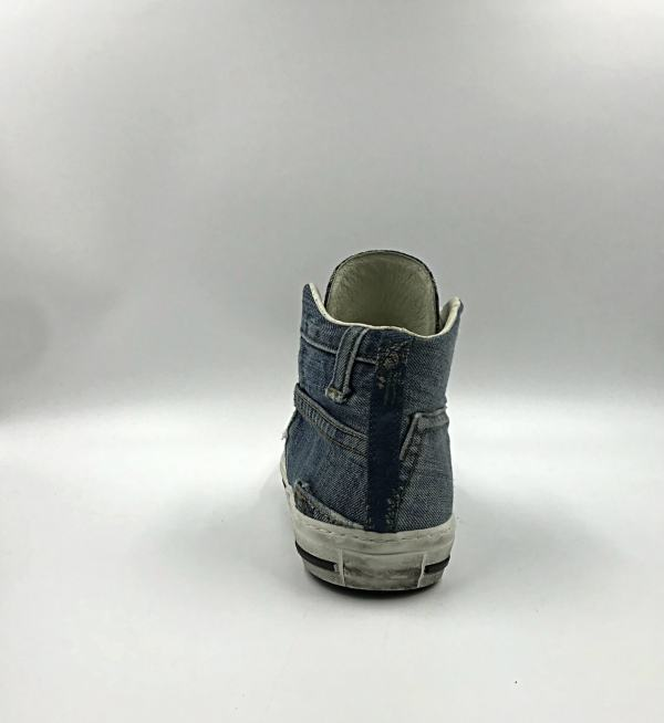 denim with multicolor Aztec gobelin fabric RYC & RICH-YCLED Handmade Shoes From Italy