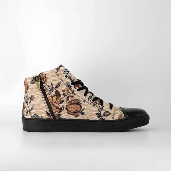 FLORAL GOBELIN FABRIC WITH BROWN coco LEATHER RYC & RICH-YCLED Handmade Shoes From Italy