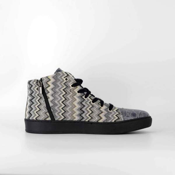 Grey Zigzag Piedipull & marbled grey coco leather RYC & RICH-YCLED Handmade Shoes From Italy €290
