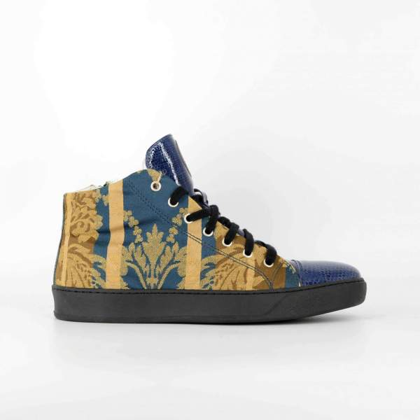 fantasy leaf Damascato with blue tex leather RYC & RICH-YCLED Handmade Shoes From Italy