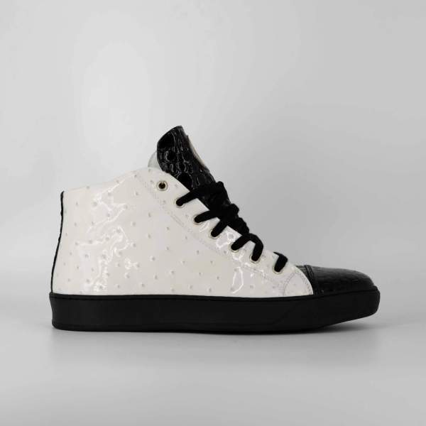 White ostrich & black coco leather RYC & RICH-YCLED Handmade Shoes From Italy