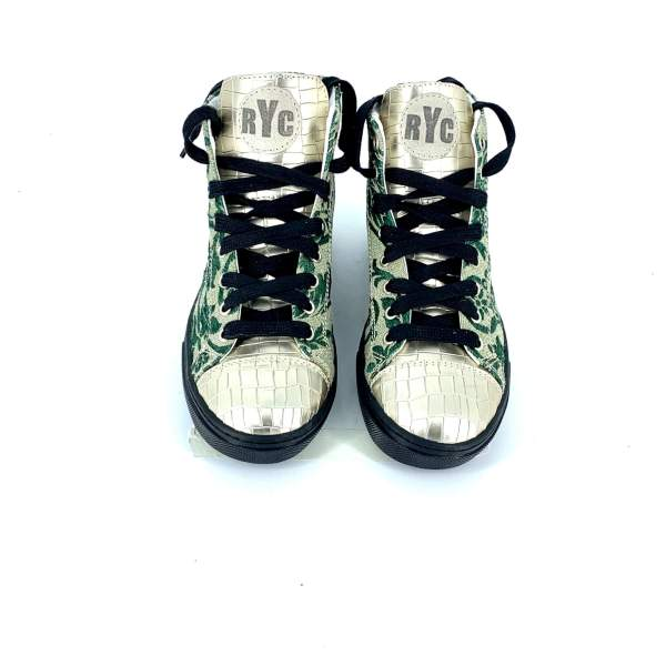 Green baroccato With gold coco leather RYC & RICH-YCLED Handmade Shoes From Italy