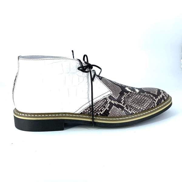 Shiny white coco leather with multi brown tex leather RYC & RICH-YCLED Handmade Shoes From Italy