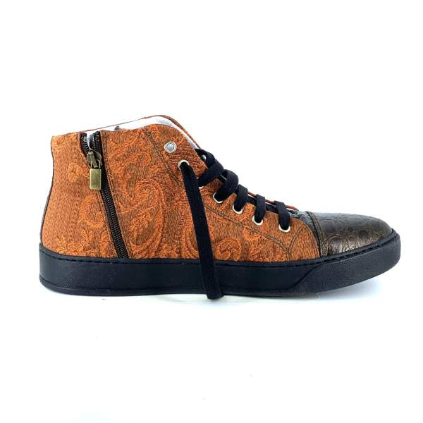Comfy orange baroccato with deep brown coco leather RYC & RICH-YCLED Handmade Shoes From Italy €270