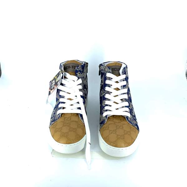 Blue n' gold damascato with beige couture leather front RYC & RICH-YCLED Handmade Shoes From Italy €295