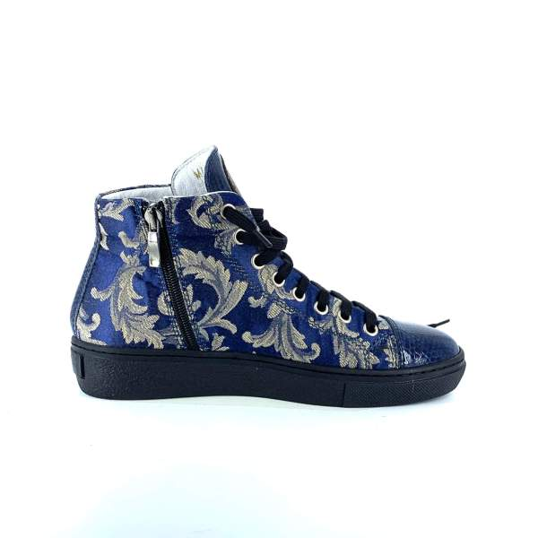 Gold n' blue damascato with Blue shiny leather RYC & RICH-YCLED Handmade Shoes From Italy €275